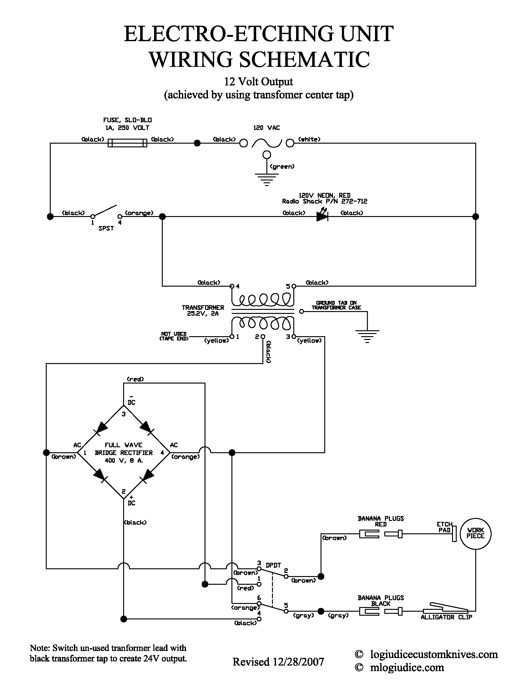 Electro Etcher Information Wiring Schematic Volex Switch Diagram Circuit Pdf
